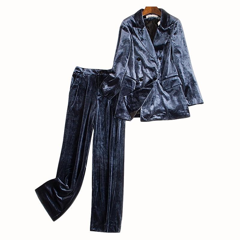 Spring Autumn 2019 Women Fashion Korean Style Velvet Blazer And Wide Leg Full Length Pants OL One Set