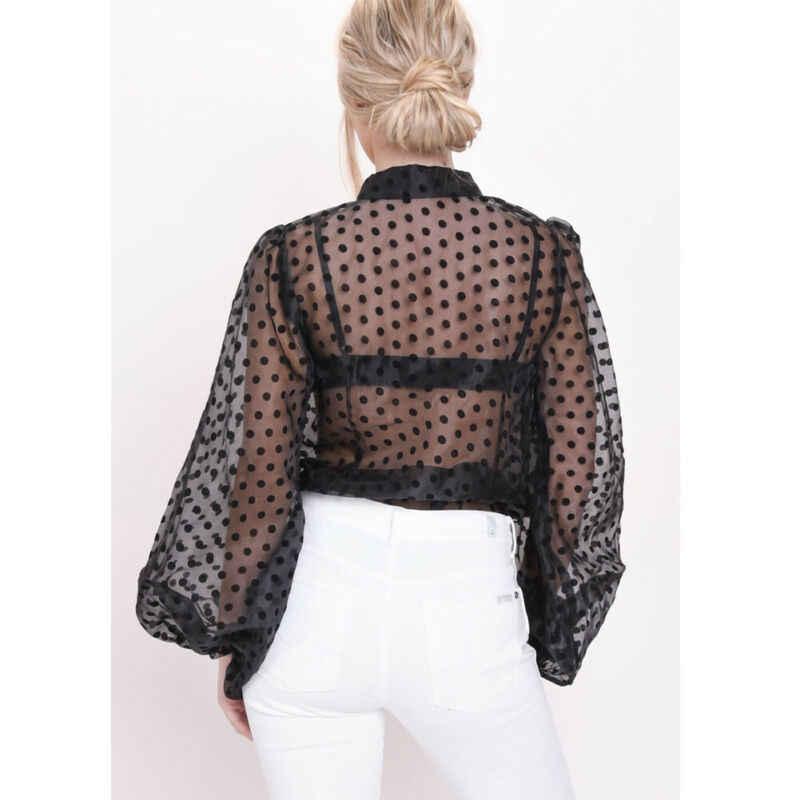 נשים בנות Mesh Sheer למעלה ארוך פאף שרוול שקוף החולצה מנוקדת מודפס חולצה חולצות נקבה Tees חולצות Streetwear