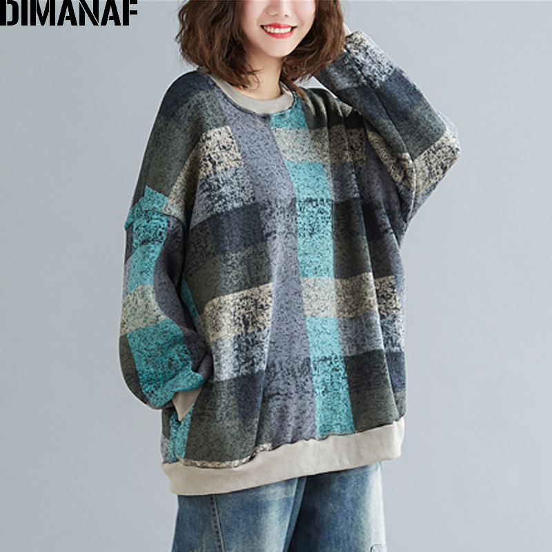 DIMANAF Autumn Winter Oversize Women Sweatshirts Lady Tops Pullovers Knitting Cotton Thick Vintage Loose Long Sleeve Plus Size