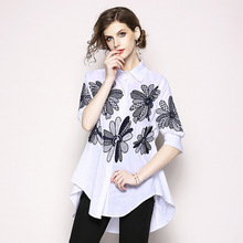 Autumn chiffon shirt female 2019 elegant long-sleeved hollow embroidery loose two-piece white black