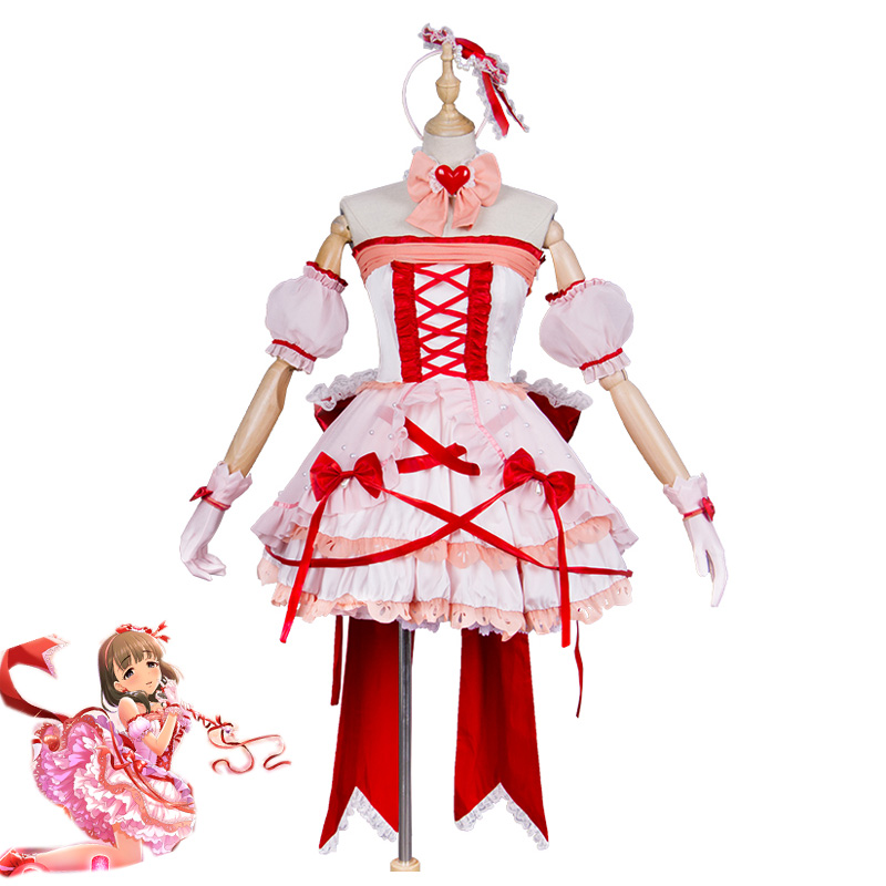 Anime THE IDOLM@STER Cinderella Girls Mayu Sakuma Cosplay Costumes Sexy Pink Lolita Dress JK Uniform Party Role Play Clothing