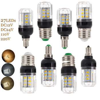 цена на 10pcs/lot E27 E14 E12 E26 27LEDs 7W Lighting SMD 5730 LED Corn Bulb Lamp Christmas Chandelier Lights AC 110V 220V DC 12V 24V