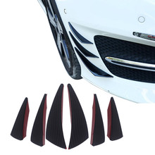 6Pcs Universal Black Carbon Fiber Car Spoiler Canards Fit Front Bumper Lip Splitter Fin Air Knife Auto Body Kit 스포일러 #py10