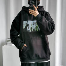 Мужской пуловер с капюшоном черный Свободный свитшот мультяшным