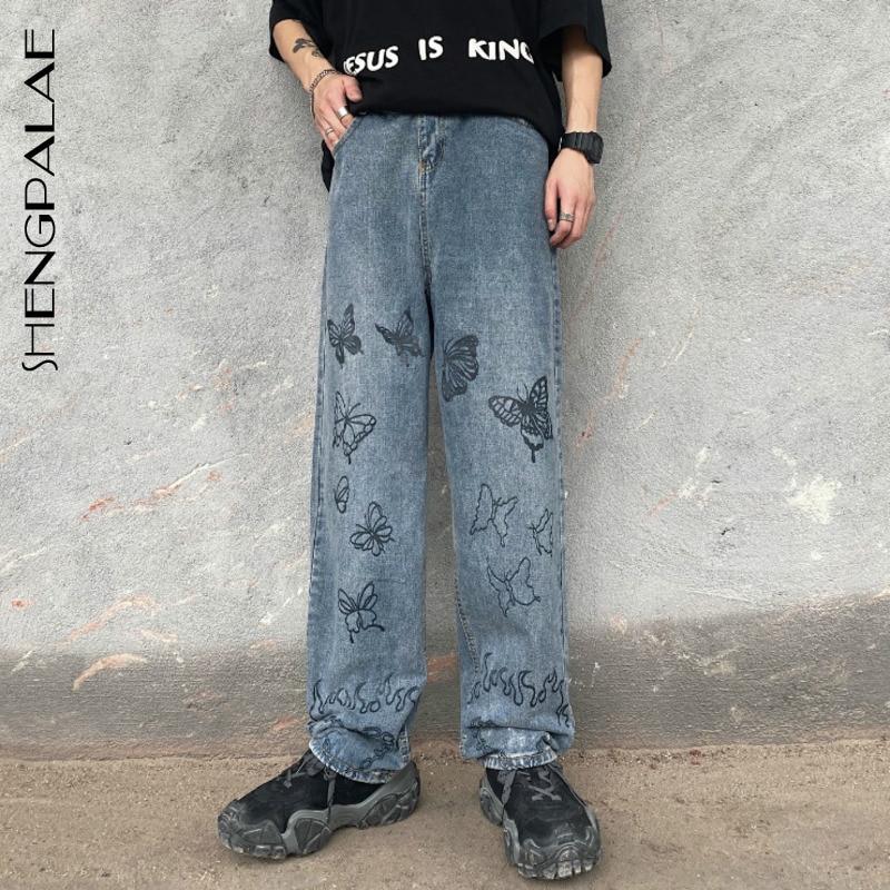 SHENGPALAE 2020 New Summer Casual Jeans Woman Long Trousers Cowboy Female Loose Streetwear Butterfly Wide-leg Pants ZA4878