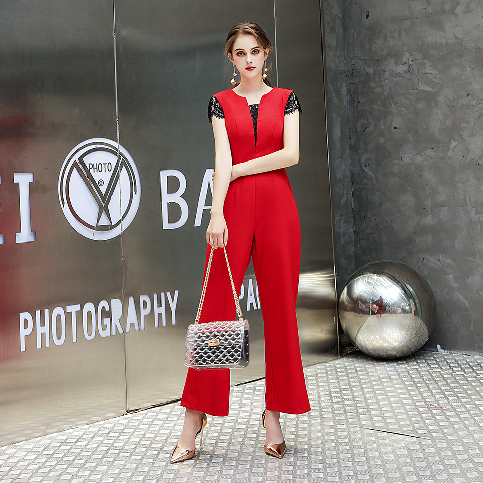 Women Casual  Strap Wide Legs Lace T-shirt High Waist  Jumpsuit