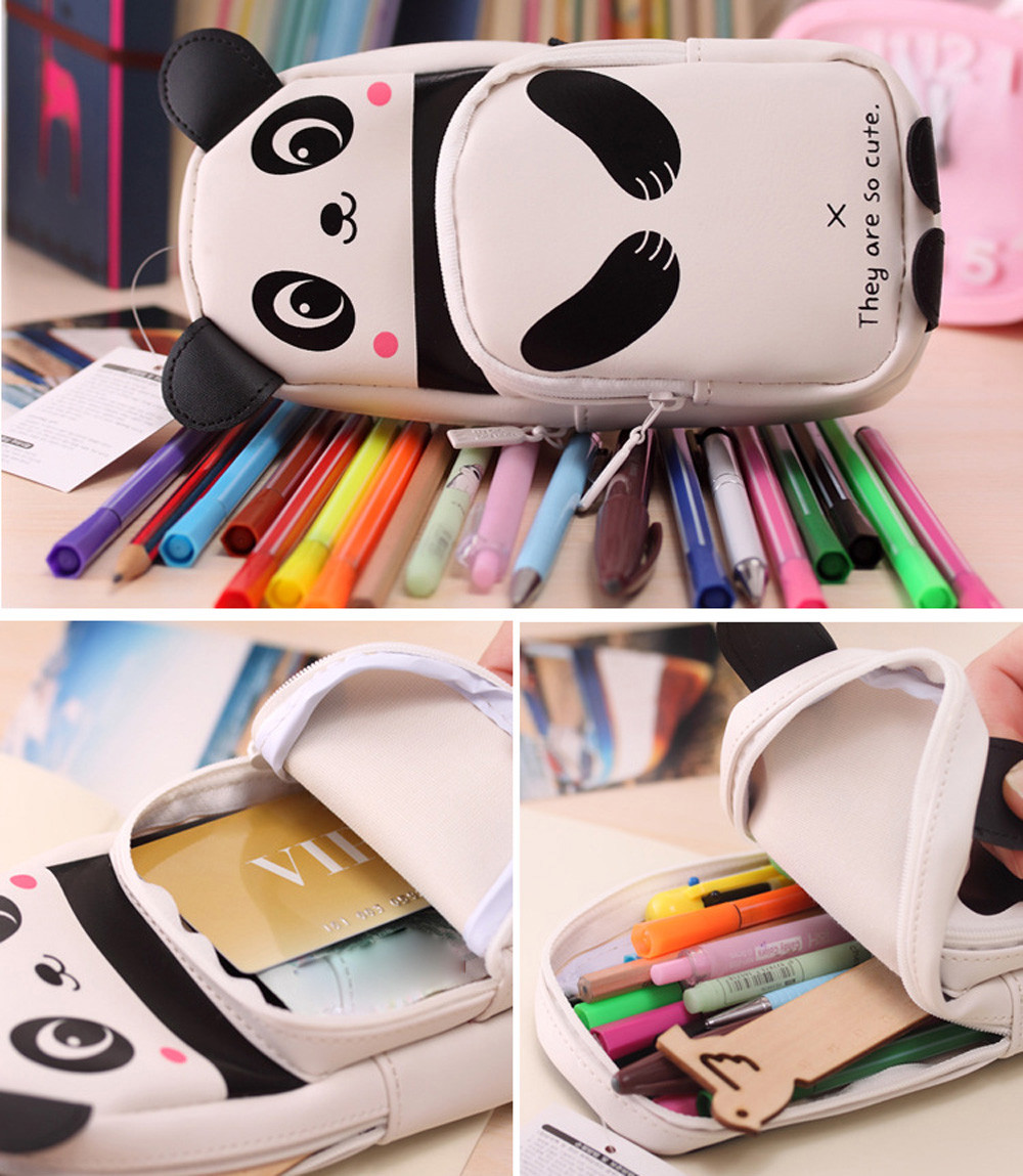 Cute Kawaii 3D Panda Pencil Case School Supplies Novelty Item For Kids Girls Pencil Box School Office Supplies