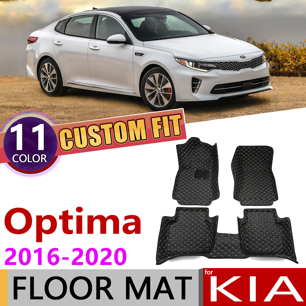 Custom Car Leather Floor Mats for KIA Optima K5 JF 2016~2020 5Seats Waterprool Foot Pad Carpet Accessories 2017 2018 2019 image