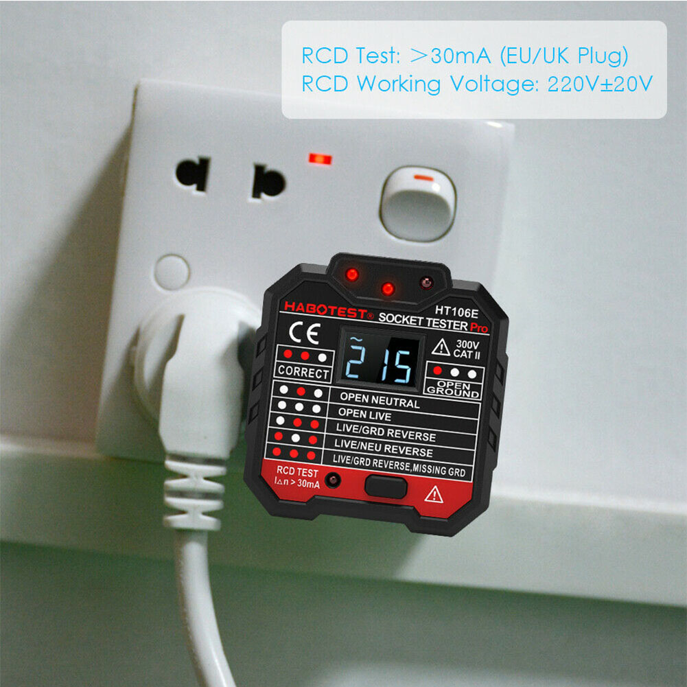 Wall Circuit Finder Tools Polarity LCD Display Digital Mains Fault Socket Tester Detector Mini Voltage Electrical Portable