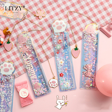 1 pcs Kawaii Quicksand Rulers Girl Drawing Template Lace Sewing Ruler 12CM Pendant Cute bookmark Stationery Office School Gift