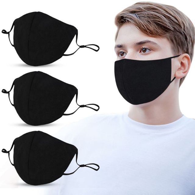 10Pcs Adult Black Mouth Mask Adjustable Dust Proof PM2.5 Mask Cotton Mouth Mask Washable Reusable Outdoor Face Masks Four layer