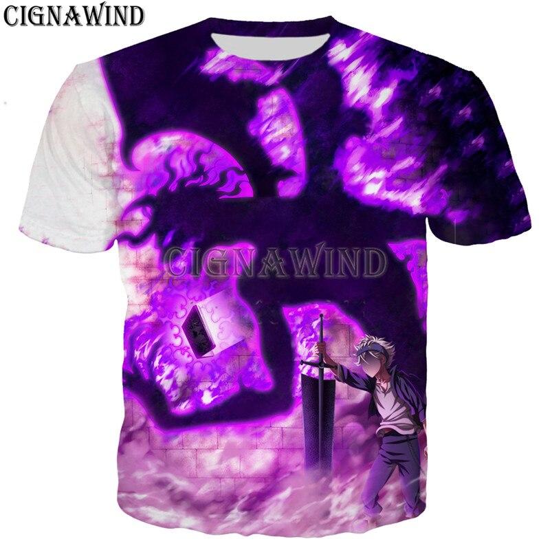 Модная крутая футболка с аниме черным клевером для мужчин и женщин, футболки с 3D принтом, унисекс, стиль Харадзюку, футболка, уличная одежда, ...