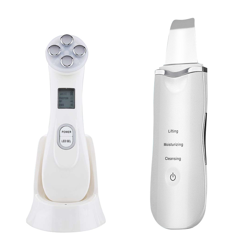 Ultrasonic Face Cleaning Skin Scrubber Facial Cleansing Peeling Machine Pore Cleaner + EMS LED Anti Aging Facial Massager