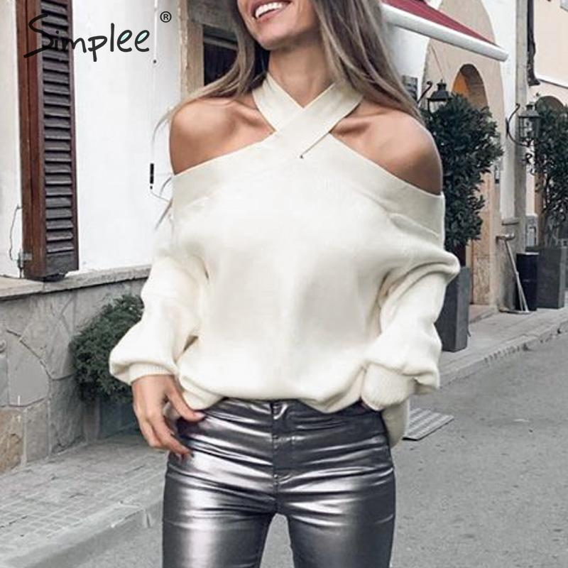 Simplee Sexy Halter Cold Shoulder Knitted Sweater Women Spring Casual Pullover Jumpers Sweater Elegant Pull Femmel Sweaters 2020
