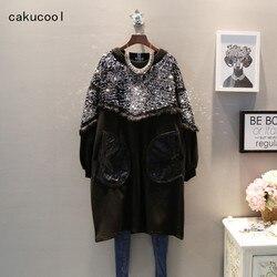 Cakucool Sequins Sweatshirt Black Silver Beading Bling Pullover O neck Hoodies Chic Warm Fleece Long Sweatshirts Large Femme