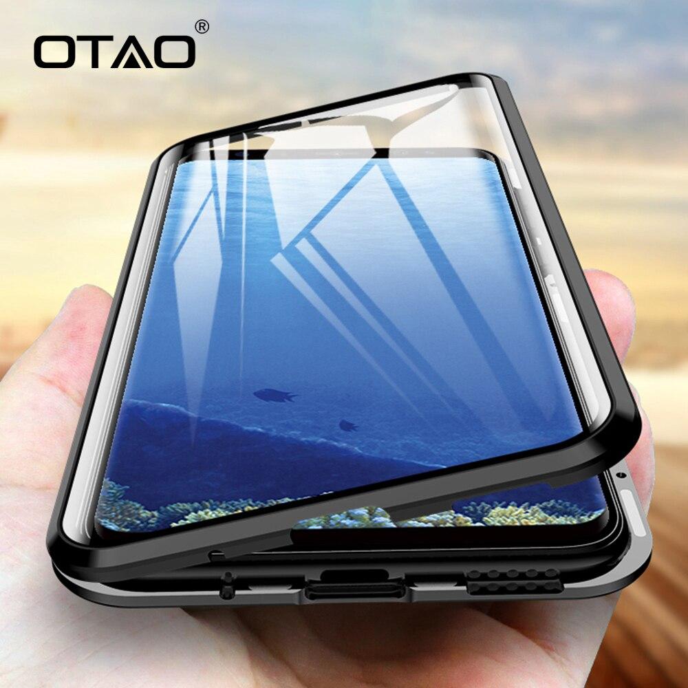 OTÃO Metal Case Magnético Para Samsung Galaxy S9 S8 S10 Além de Caixas De Vidro de Dupla Face Para Galaxy Note 8 9 360 Tampa Do Caso de Corpo Inteiro