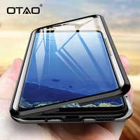 OTAO Metallo Della Cassa Magnetica Per Samsung Galaxy S9 S8 S10 Plus Double Sided Vetro Custodie Per La Nota della Galassia 8 9 360 Completa Del Corpo di Caso Della Copertura