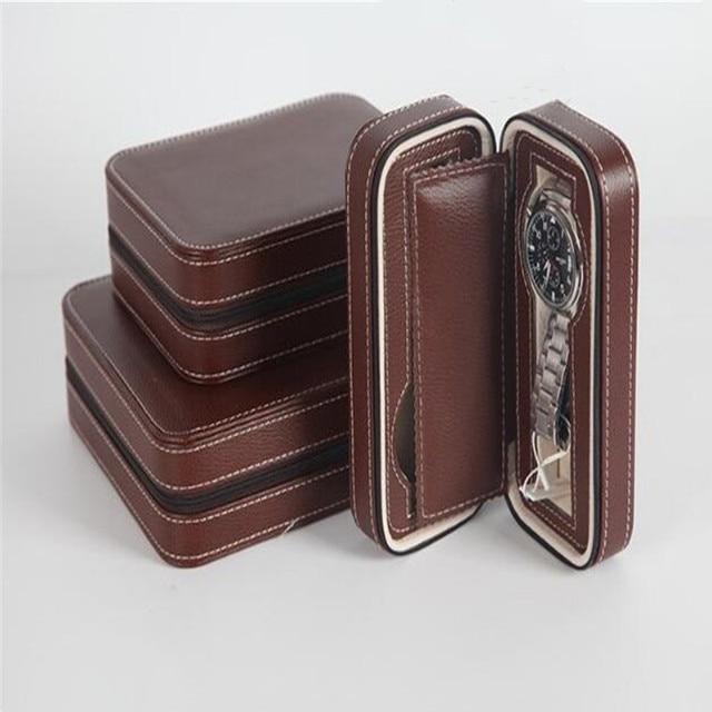 Watch Box PU Leather Portable Zipper Organizer 4