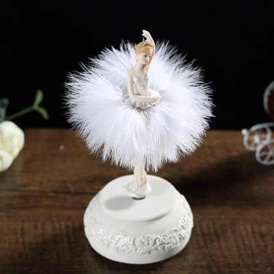 Elegante e refinado bailarina dança carrossel caixa de música 2 cores pena caixa de música diy presente de aniversário de casamento para meninas