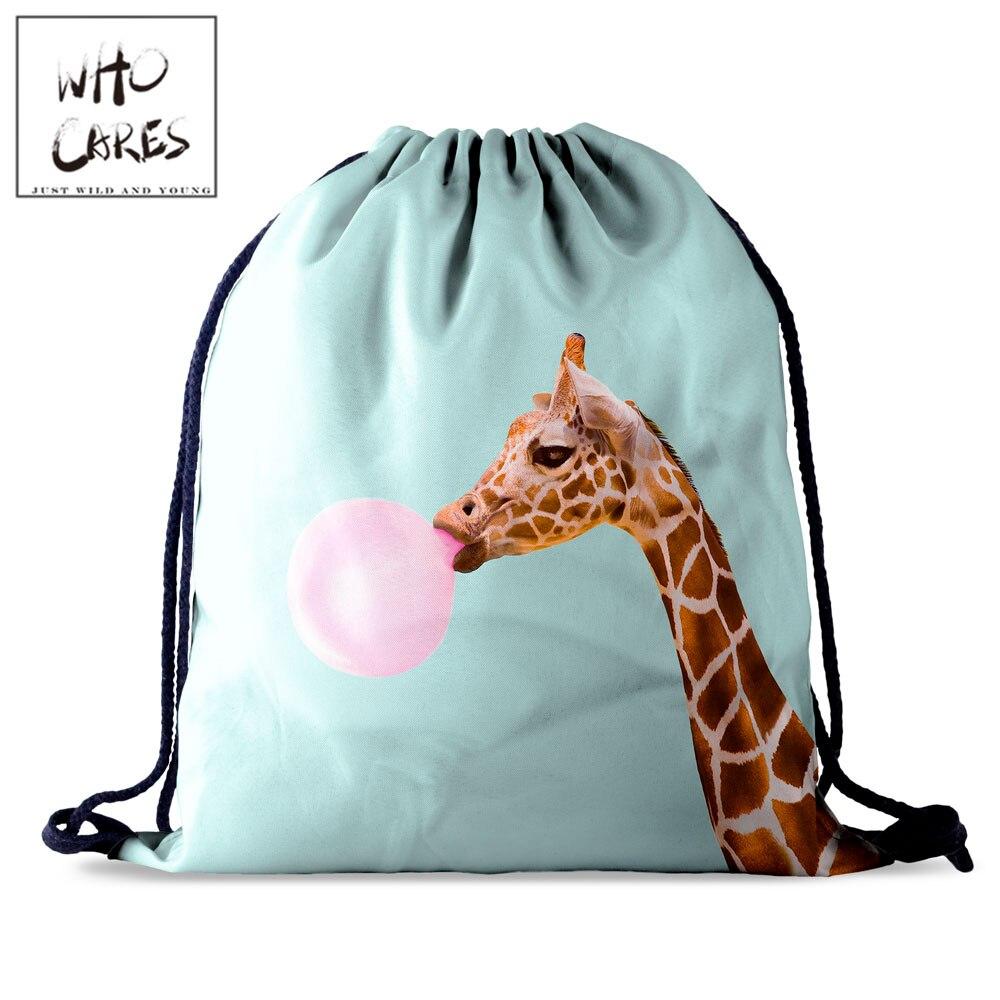 Who Cares Women Drawstring Bag Giraffe 3D Printing Portable Casual Travel Bag For Shoes Fashion Gym Backpack
