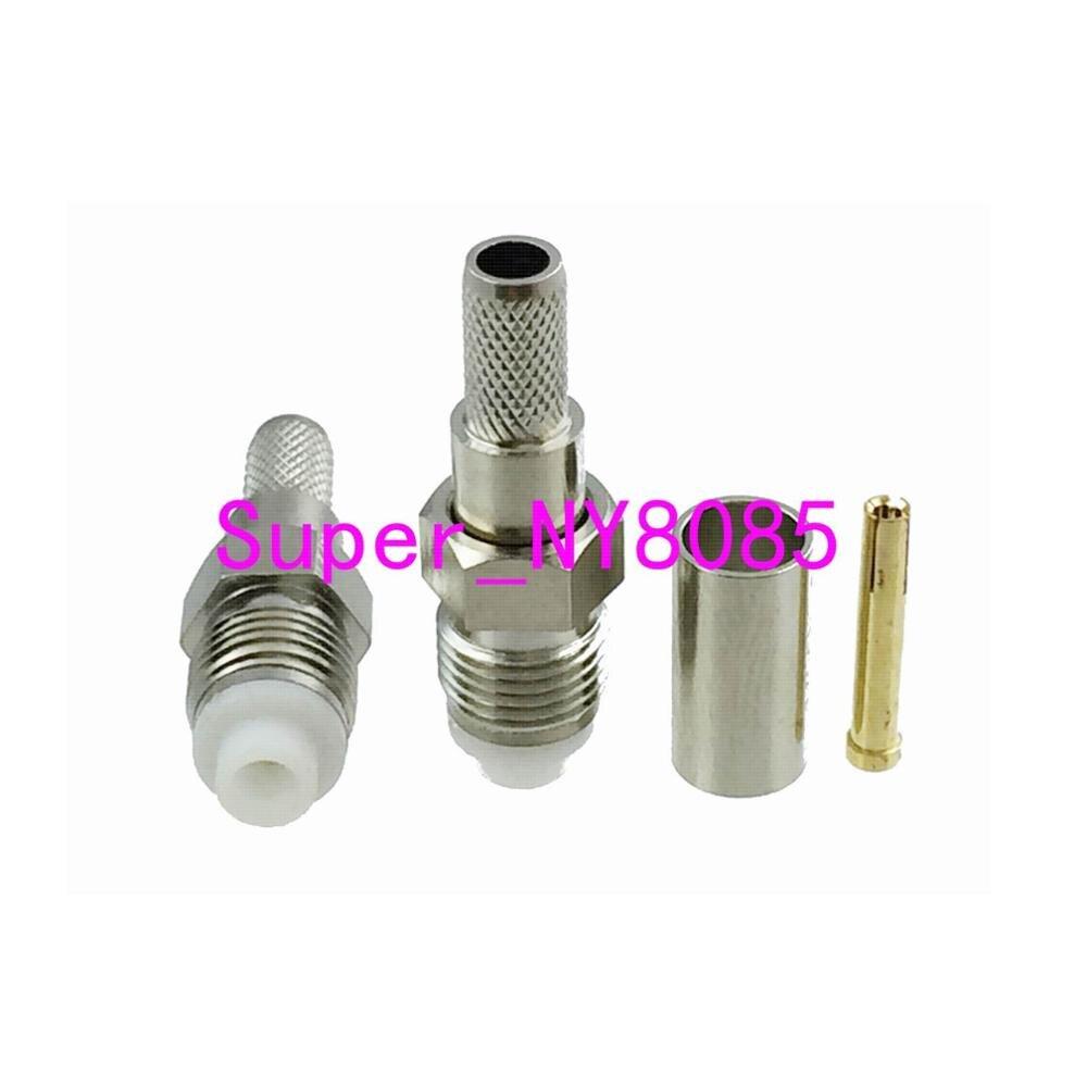 10 pces conector fme fêmea friso para rg58 rg142 lmr195 rg400 rf coaxial