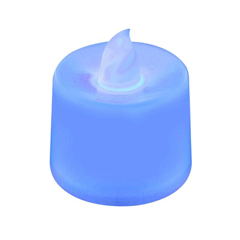 Батареи в комплекте чайный свет мерцающий беспламенный светодиодный свечи Буги велы электрические свечи Chandelle Свадебные украшения - Цвет: Синий