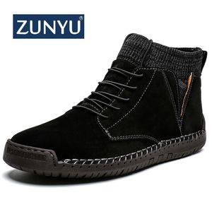 ZUNYU Winter Warm Men Snow Boots High Quality Cow Suede Man Ankle Boots Fur Men Shoes Plush Autumn Basic Drive Boots Big Size 48(China)
