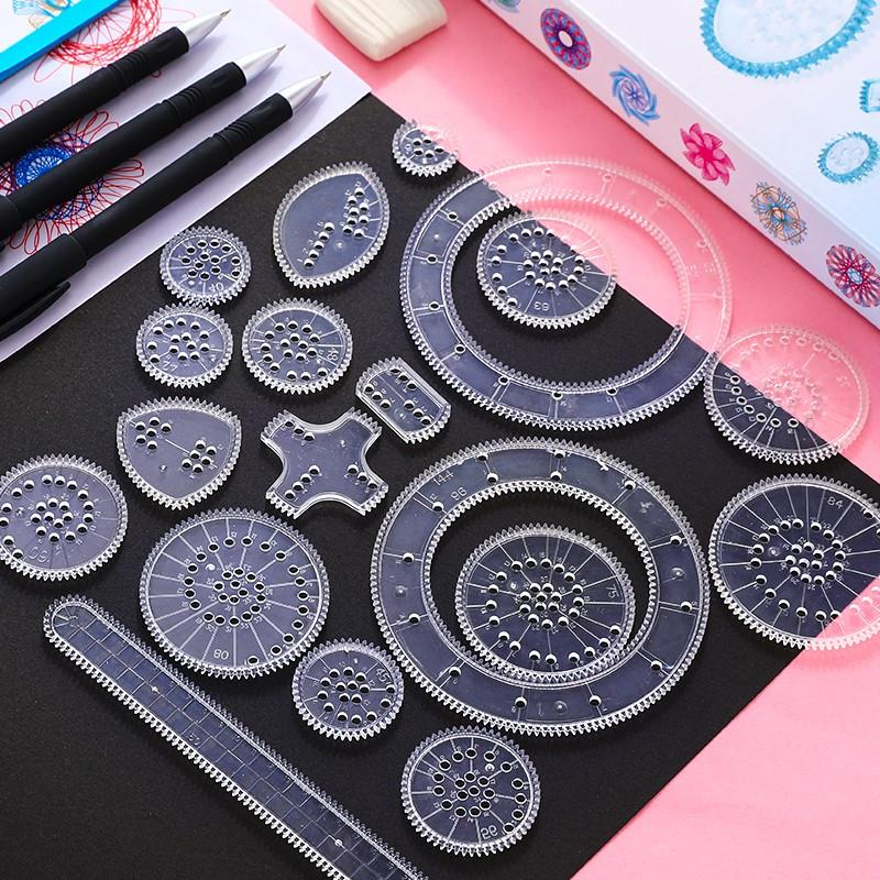 Million Flower Magic Geometry Set Hand Copy Newspaper Template Hollow Rulers School Tools Curve Drawing Rule
