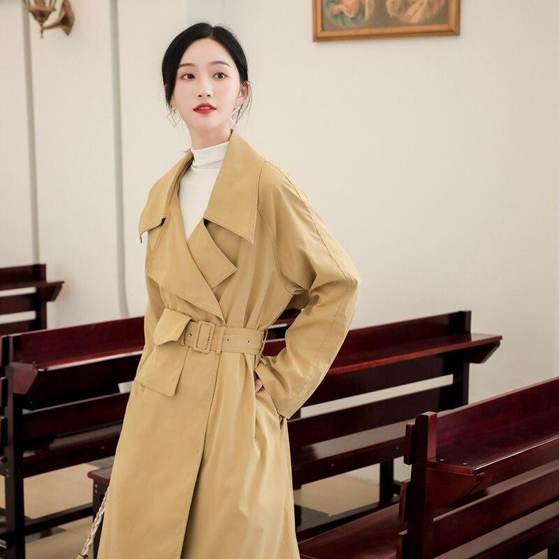 2019 nouveau femmes longue Trench Coatoling reliure poche manteaux kaki A410