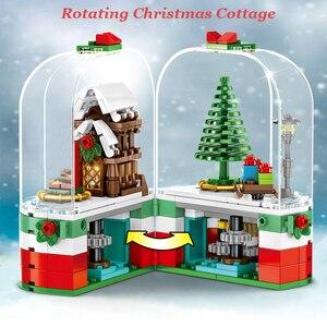 Christmas Gift Rotating Christmas Cottage Building Blocks Santa Claus House Model City Bricks Toys Compatible Xmas Gift For Kids