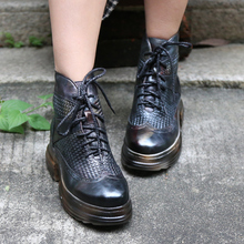 Original Retro Genuine Leather Women Boots Handmade Casual Platform Thick Bottom Lace-up Cross-tied Ankle Sport Shoes