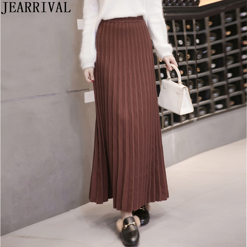 2019 Autumn Winter Warm Long Skirt High Waist Solid Color Fashion Slim Knitting Pleated Skirts Korean Ladies Thick Maxi Skirt