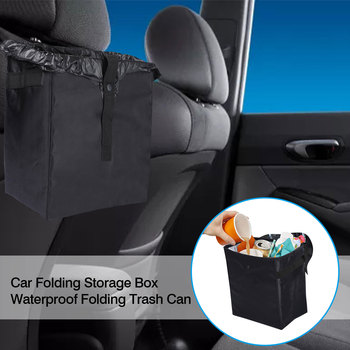 Car Folding Storage Box Waterproof Folding Trash Can Chair Back Hanging Storage Box Leakproof Garbage Bin Collapse Storage Bag image