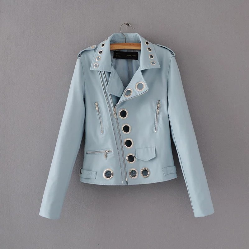 2019 New Women Fashion Faux Leather Jacket Motocycle and Biker Slim fit Pu Jacket with Eyelet Hot selling in Leather Jackets from Women 39 s Clothing