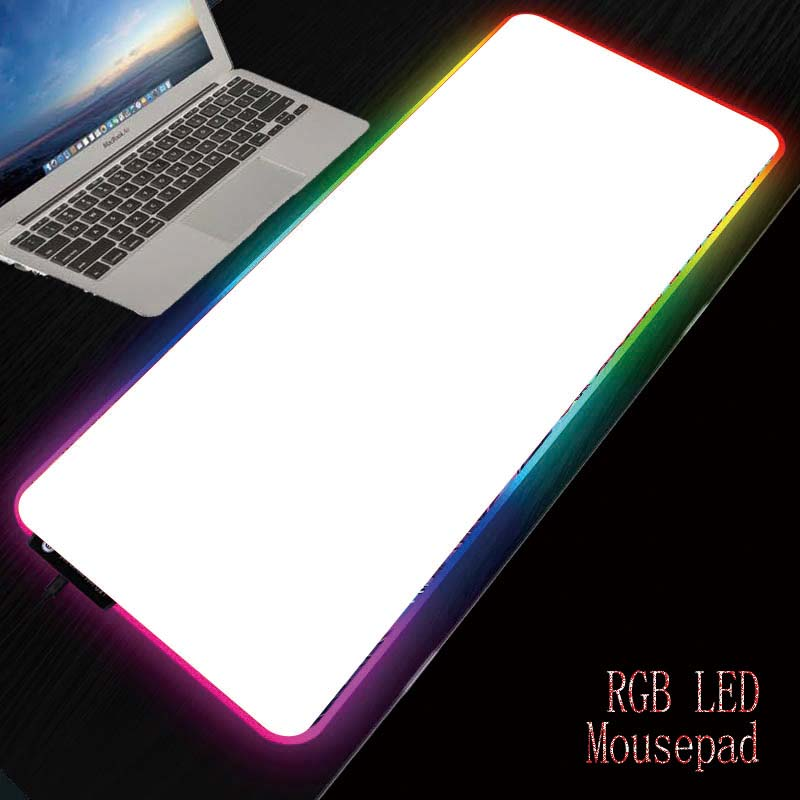 Almofada de jogo mrgbest toda a base de borracha natural antiderrapante branca com bordas costuradas em branco sublimação mouse pad rgb led