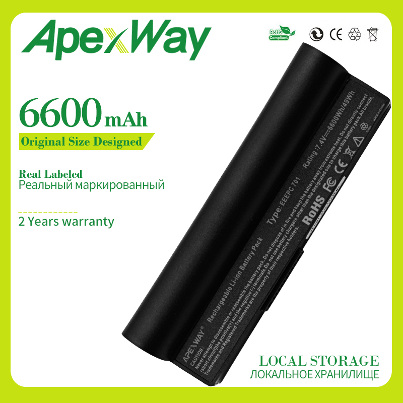 Apexway 6600 mah 6 Cells Laptop Battery For Asus A22 700 A22 P701 A23 P701 P22 900 Eee PC 701 4G 8G 2G Surf 4G Surf 900 700|Laptop Batteries| |  - title=