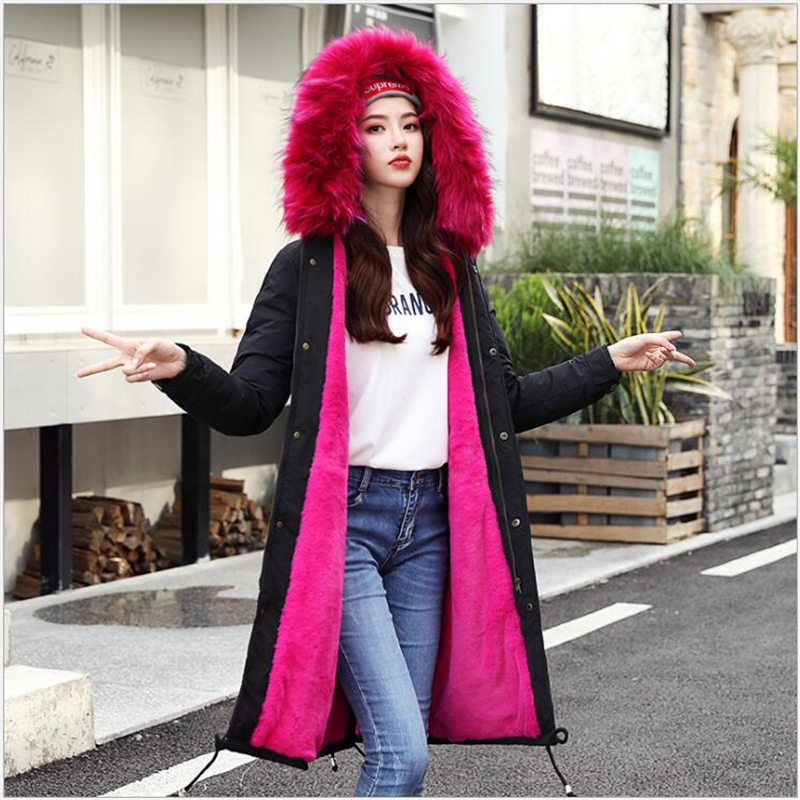 Women winter Coat Faux Fur Collar Winter women   Parka   Long Sleeve Ladies Tops Warm Female Jacket Overcoat Cashmere liner 373