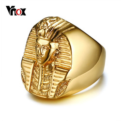 Vnox Pharaoh Shaped Rings for Men Gold Tone Stainless Steel Rock Punk Ancient Egypt Male Finger Ring Accessories