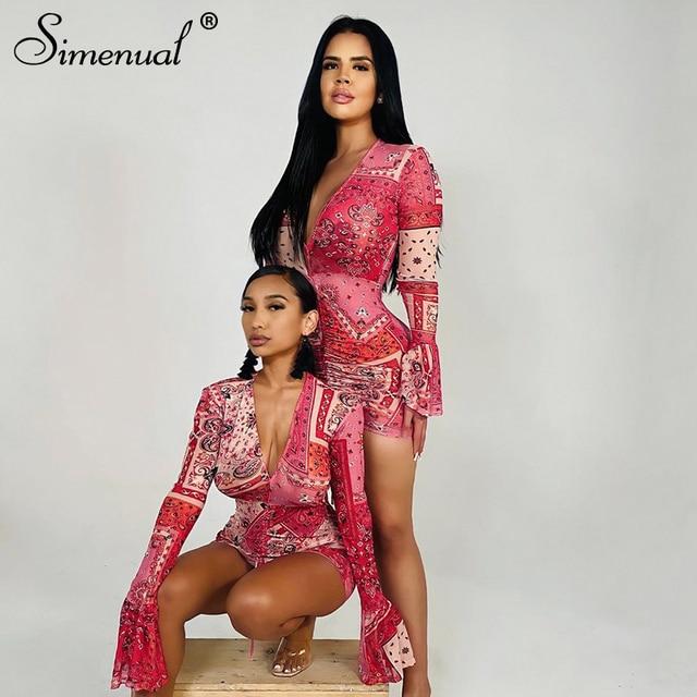 Simenual Deep V Neck Paisley Print Party Dresses Drawstring Mesh Flare Long Sleeve Transparent Club Outfit For Women Mini Dress 3