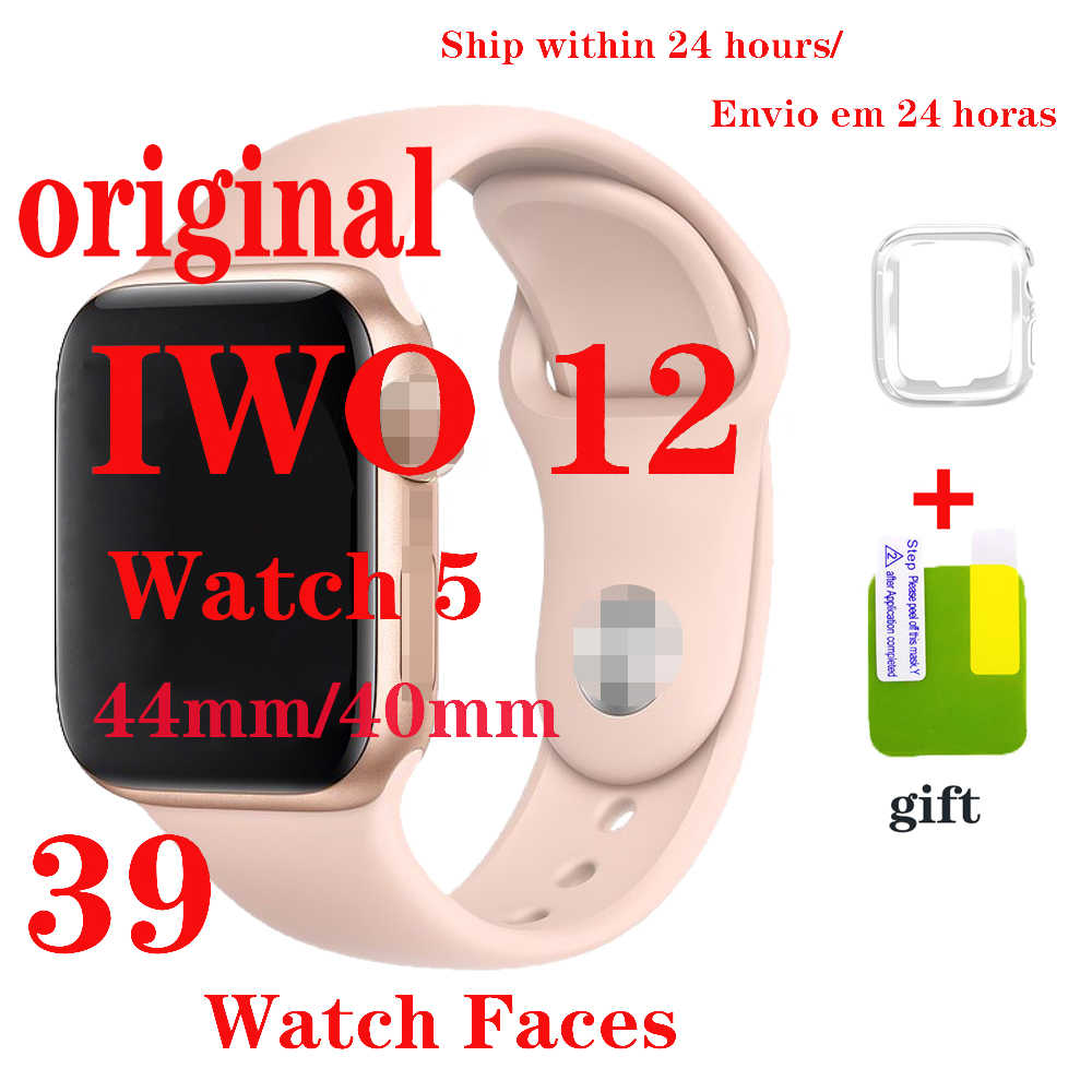 Original Iwo 12 smartwatch 44mm 40mm relógios para android phone série 5  watch unissex fineza bluetooth chamadas música smartwatch vs iwo 13 iwo12 Pro