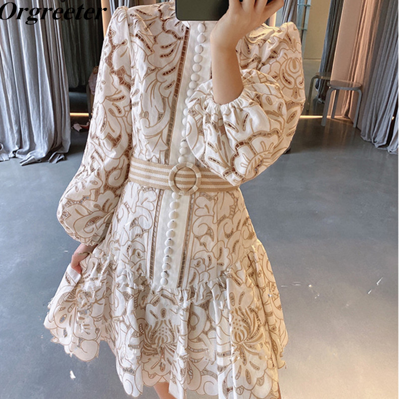 Vintage Embroidery Patchwork Hollow Dresses For Female 2020 Spring New Stand Collar Lantern Sleeve High Waist With Belt Dress