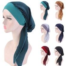 มุสลิมผู้หญิงผมร่วงมะเร็งChemoหมวกTurbanหมวกอิสลามยาวหางRuffle Pre Tied Bandana Tichel headwear