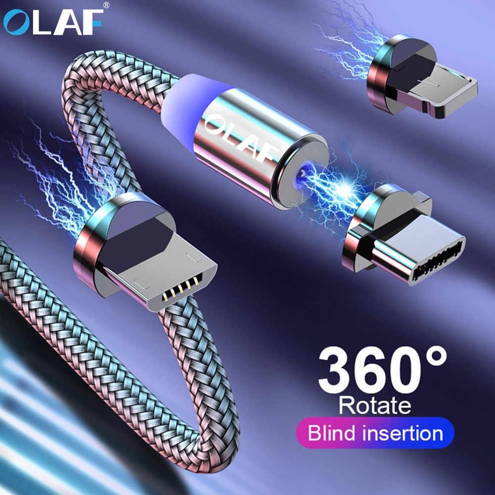 OLAF 2 متر 1 متر كابل مغناطيسي مضفر LED USB C نوع C المصغّر USB كابل المغناطيسي شحن كابلات ل iPhone سامسونج شاومي الهاتف الحبل