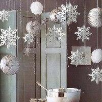 Invierno decoración Interior 3D copo de nieve hueco de papel guirnalda artificial nieve decoración congelados fiesta decoración navideña de copos de nieve