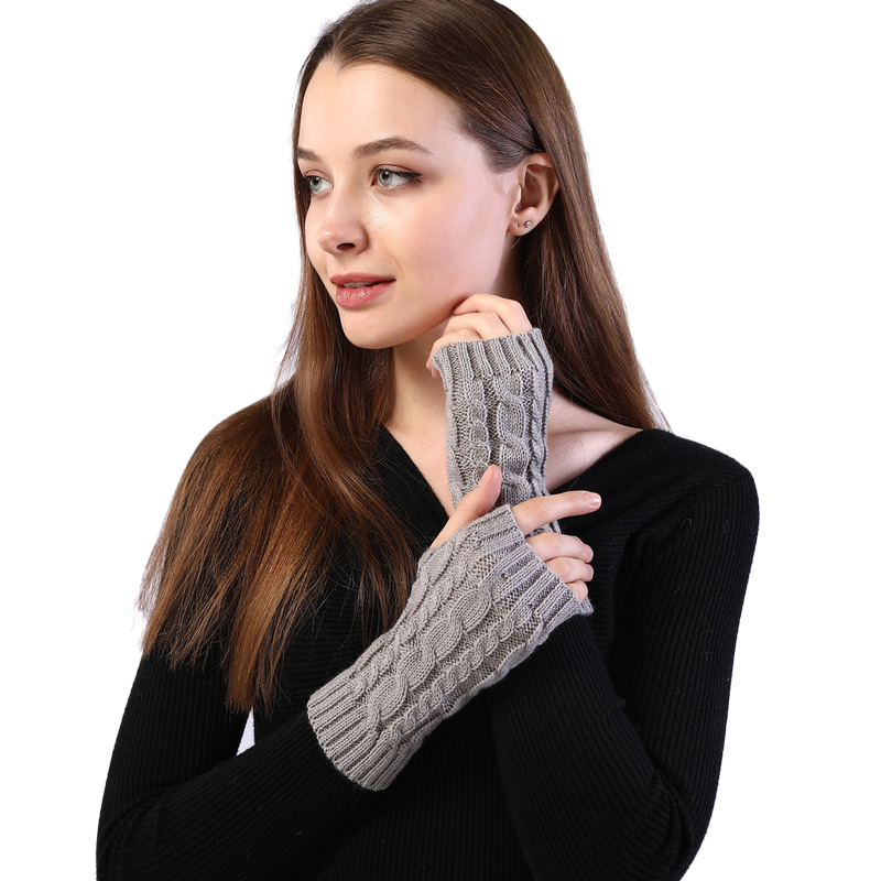 Sparsil Women Winter Knitted Fingerless Gloves Solid Wrist Long Arm Warmer Mittens Crochet Guantes Invierno Mujer Female 7X20cm