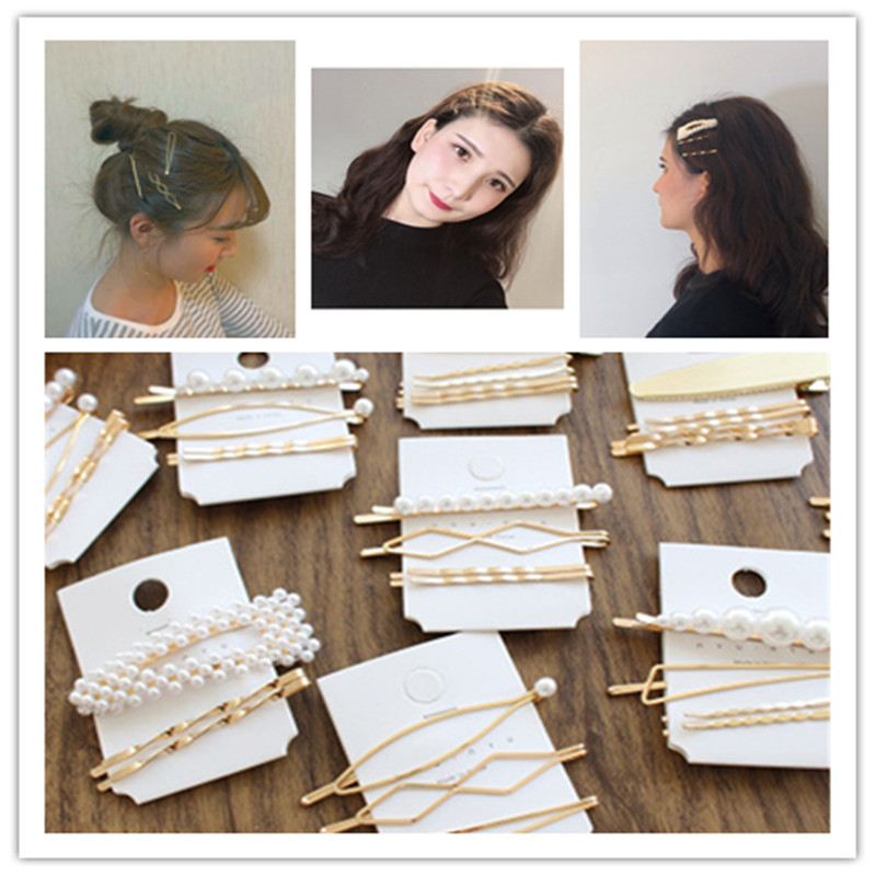 Barrette Hairpin Hair-Accessories Styling-Tools Pearl Metal Beauty Women 3pcs/Set title=