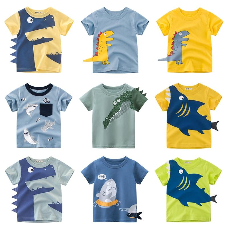 Boys T Shirt Cartoon Animals Baby Boy Girls Children Cotton Tshirt Shark Summer Clothing Dinosaur Print Tee Tops Toddler Clothes