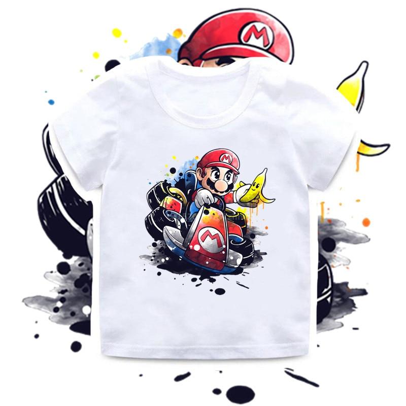 Новинка 2020, летняя футболка для маленьких мальчиков, детские футболки с принтом игры Super Bros, детская одежда с забавным мультяшным принтом дл...