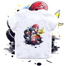 2020 novo verão bebê meninos t camisa super bros jogo impressão crianças camisetas engraçado dos desenhos animados das meninas roupas, hkp5363