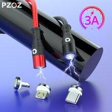 Pzoz cabo magnético micro usb c, led, cabo usb tipo c para iphone 11 pro xiaomi, cabo de carregamento rápido, cabo magnético cabo tipo c carregador